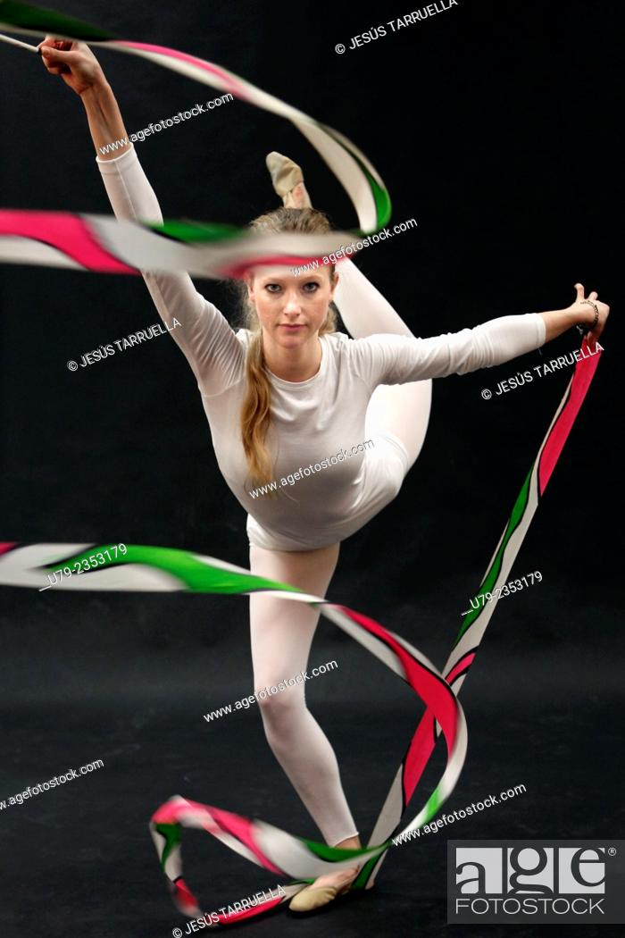 Stock Photo: Rhythmic gymnastics: ribbon.