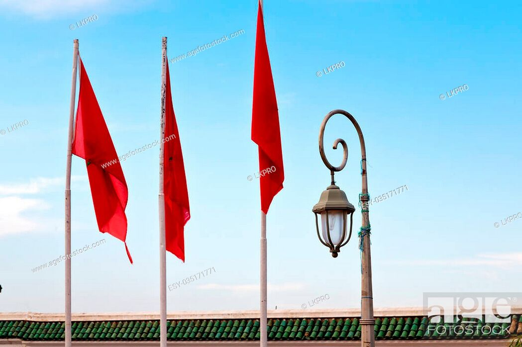 Stock Photo: waving flag in the blue sky tunisia colour and wave battlements.