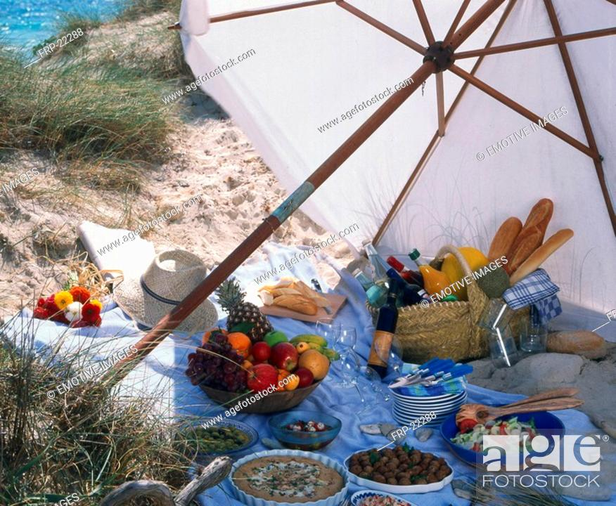 Stock Photo: Picnic at the beach.