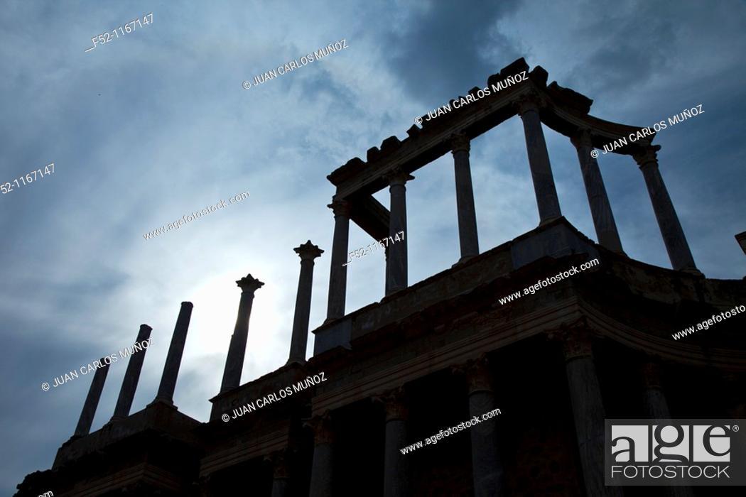 Stock Photo: Roman theatre in Merida, Merida, Badajoz, Extremadura, Spain.