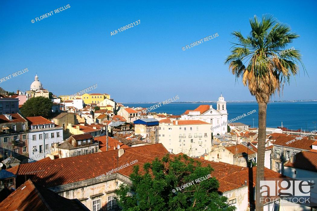 Stock Photo: Portugal - Lisbon - Alfama - Santa Eugracia and Sao Miguel Church.