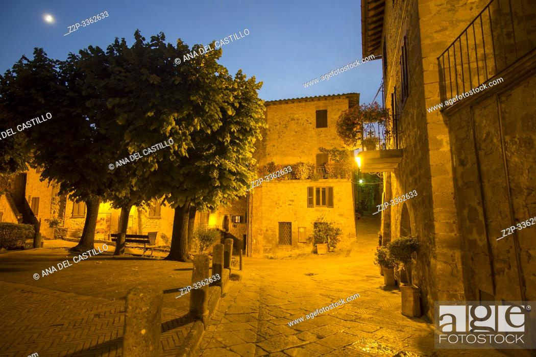 Stock Photo: Typical medieval village of Monticchiello in the province of Siena Tuscany Italy on July 7, 2019.