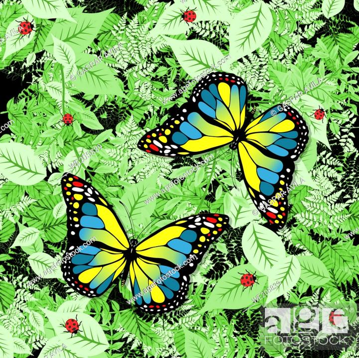 Stock Vector: Blue and yellow butterflies design, with green foliage and ladybugs on the background. Illustrative art for children.