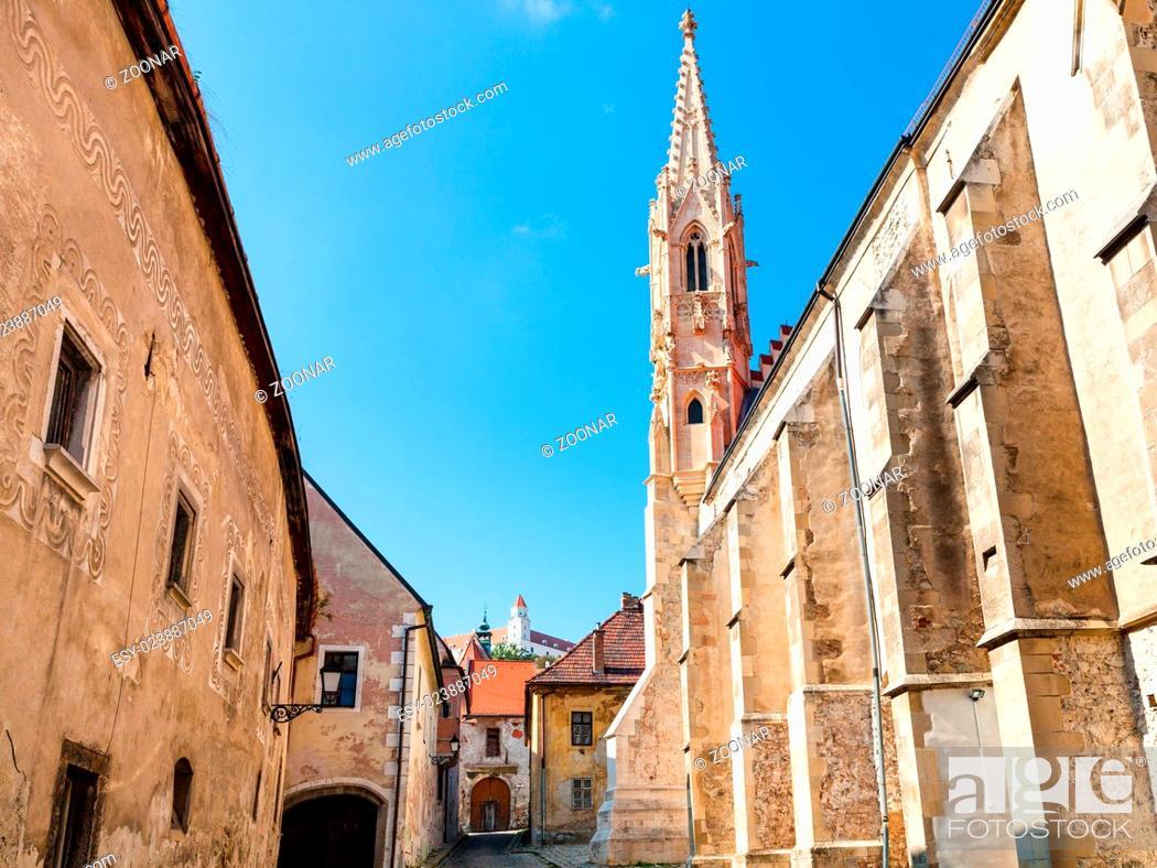 Stock Photo: medieval houses on Farska street in Bratislava.