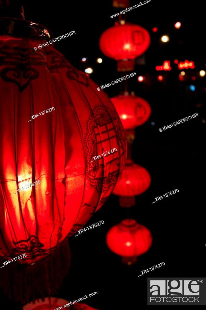 Stock Photo: Yangshuo night scenes, Li River, Yangshuo, Guangxi, China.