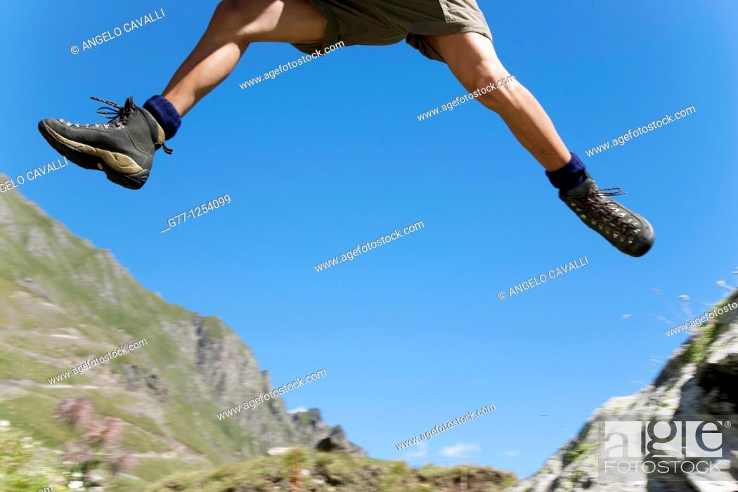 Stock Photo: Man on the mountain  Italy  Piedmont  Alps  Formazza Valley.