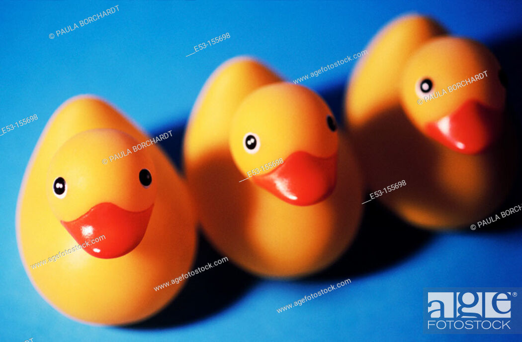 Stock Photo: Three rubber ducks.
