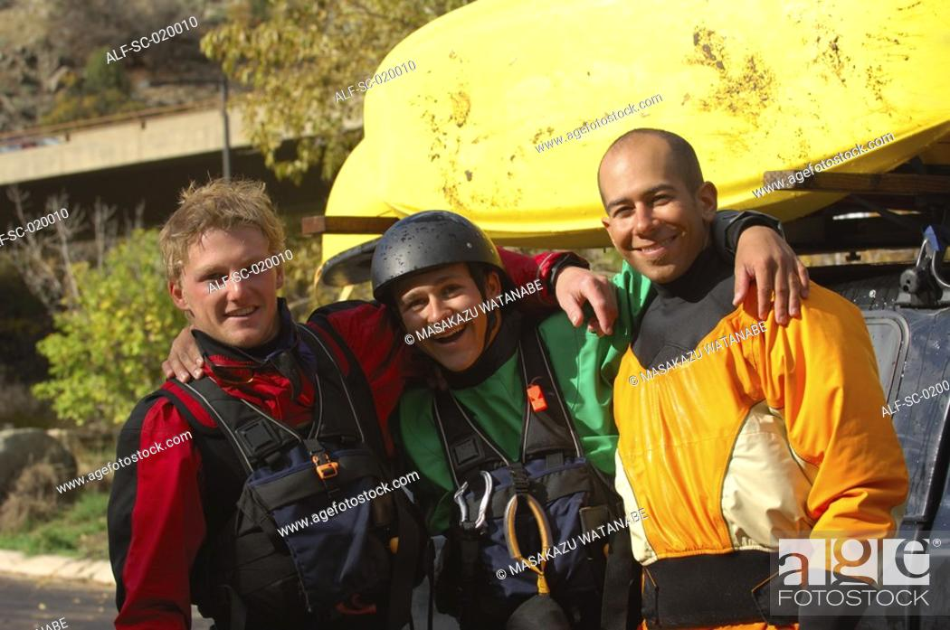 Stock Photo: Three Kayakers.