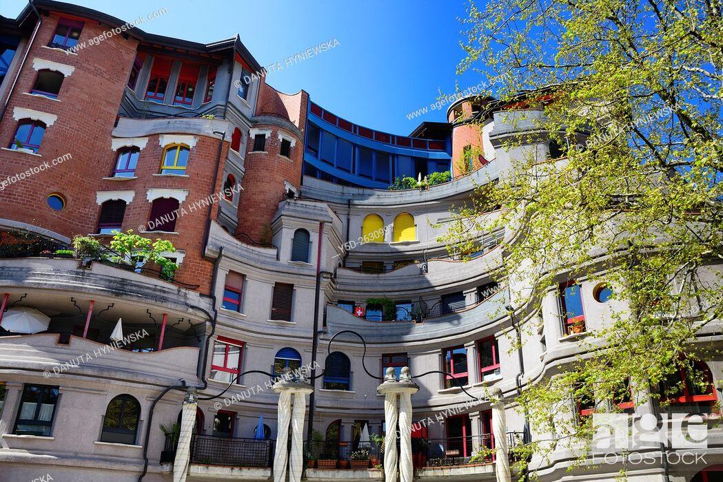 Stock Photo: residential area called 'Les Grottes', Genève, Geneva, Switzerland, Europe.