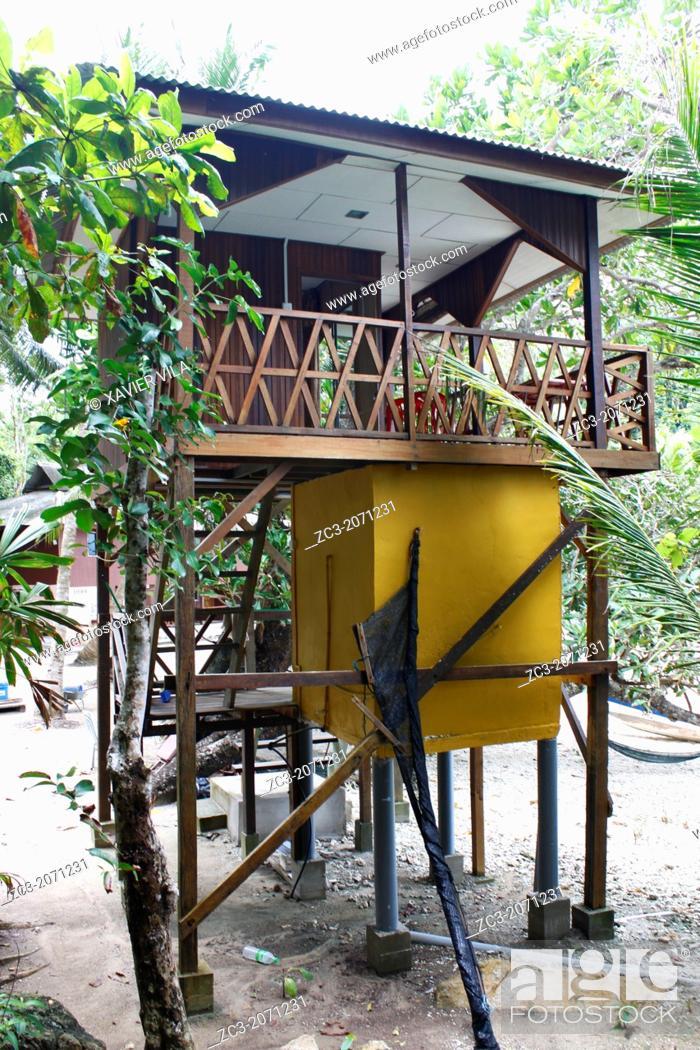 Stock Photo: Hut in the trees, Island Pulau Perhentian Kecil, D'Lagoon, Terengganu, Malaysia.