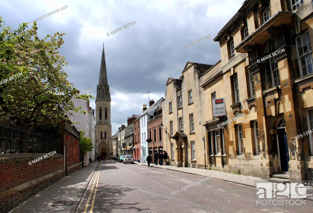 Stock Photo: St Michael's Street and Spire of Wesley Memorial Methodist Church Oxford.