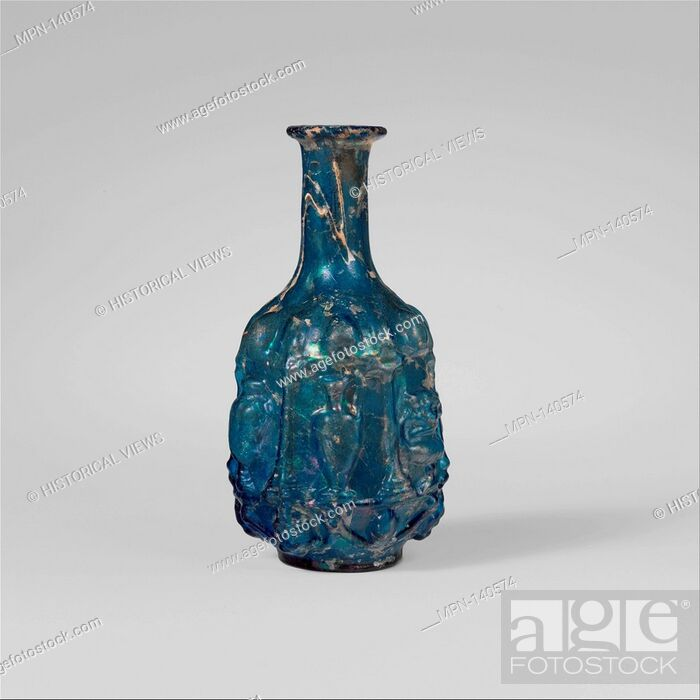 Stock Photo: Glass hexagonal bottle. Period: Early Imperial, Julio-Claudian; Date: 1st half of 1st century A.D; Culture: Roman; Medium: Glass; blown in a three-part mold;.