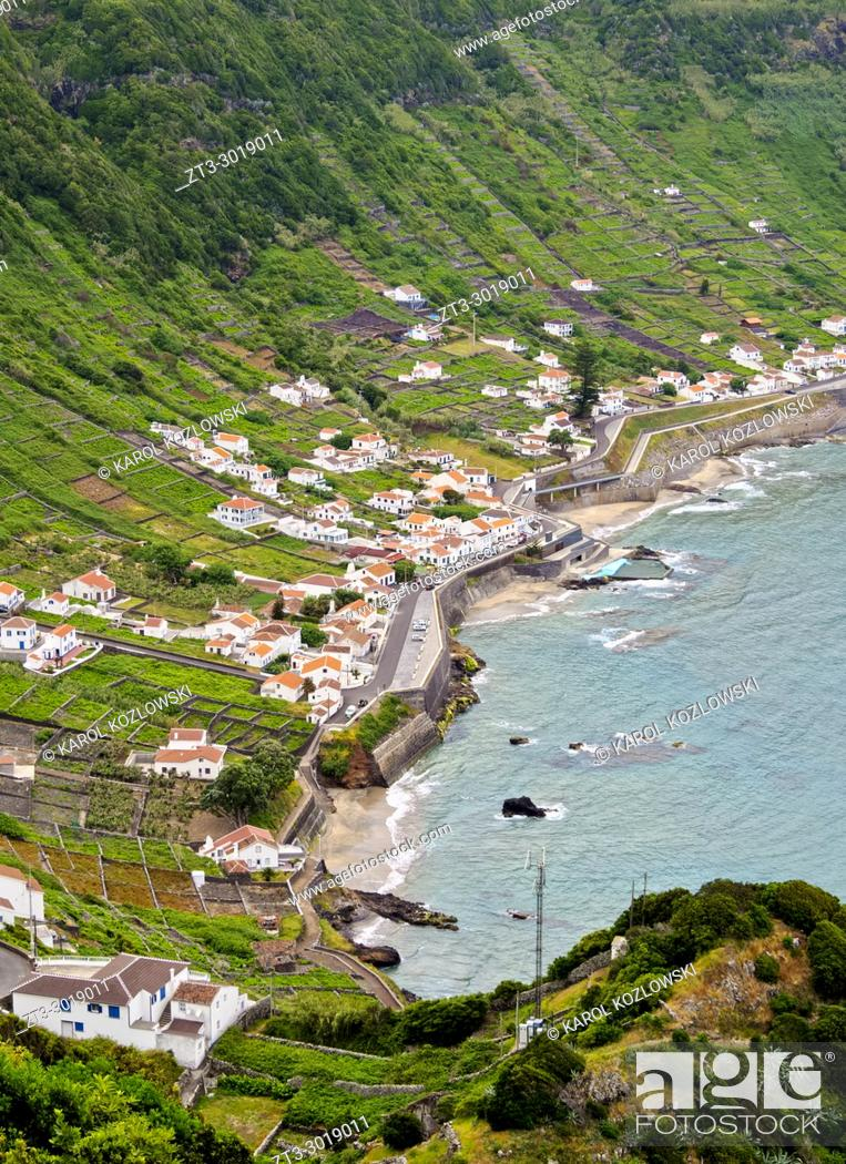 Stock Photo: Sao Lourenco Bay, elevated view, Santa Maria Island, Azores, Portugal.