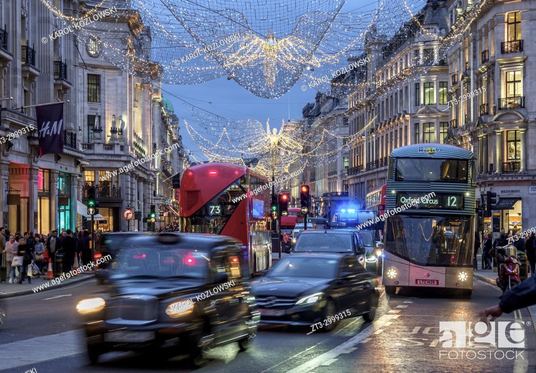 Stock Photo: Regent Street with Christmas Illuminations at twilight, London, England, United Kingdom.