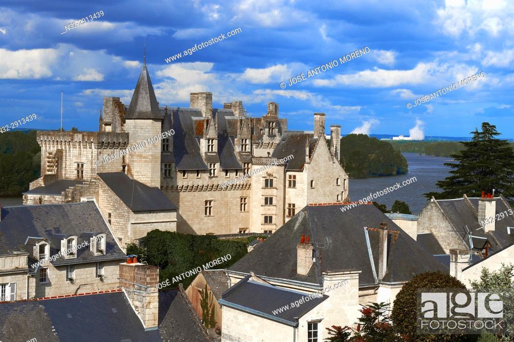 Stock Photo: Montsoreau, Loire River, Castle, Labelled Les Plus Beaux Villages de France, The Most Beautiful Villages of France, Maine et Loire, Pays de la Loire.
