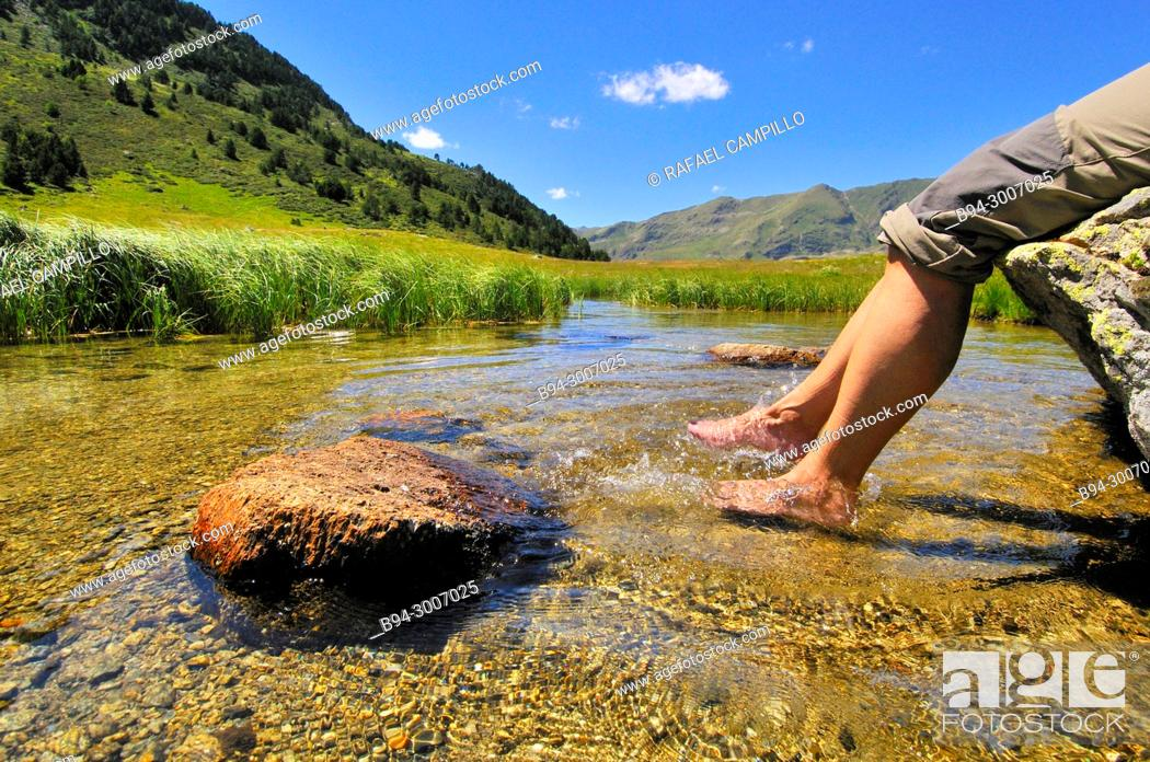 Stock Photo: Feet in a river. Incles valley. Andorra. Europe.