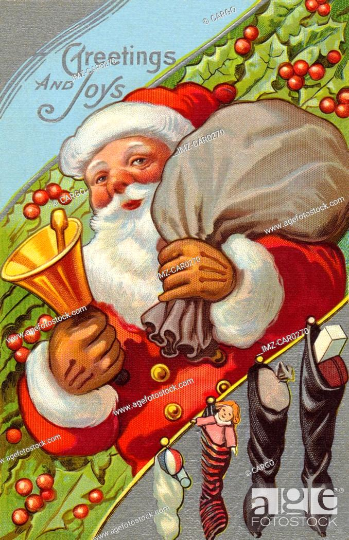 Stock Photo: Vintage Christmas postcard of Santa Claus ringing a bell while carrying a sack of presents.