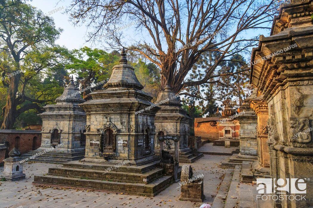 Imagen: Small shrines at Pashupatinath temple at dawn. Kathmandu, Nepal.