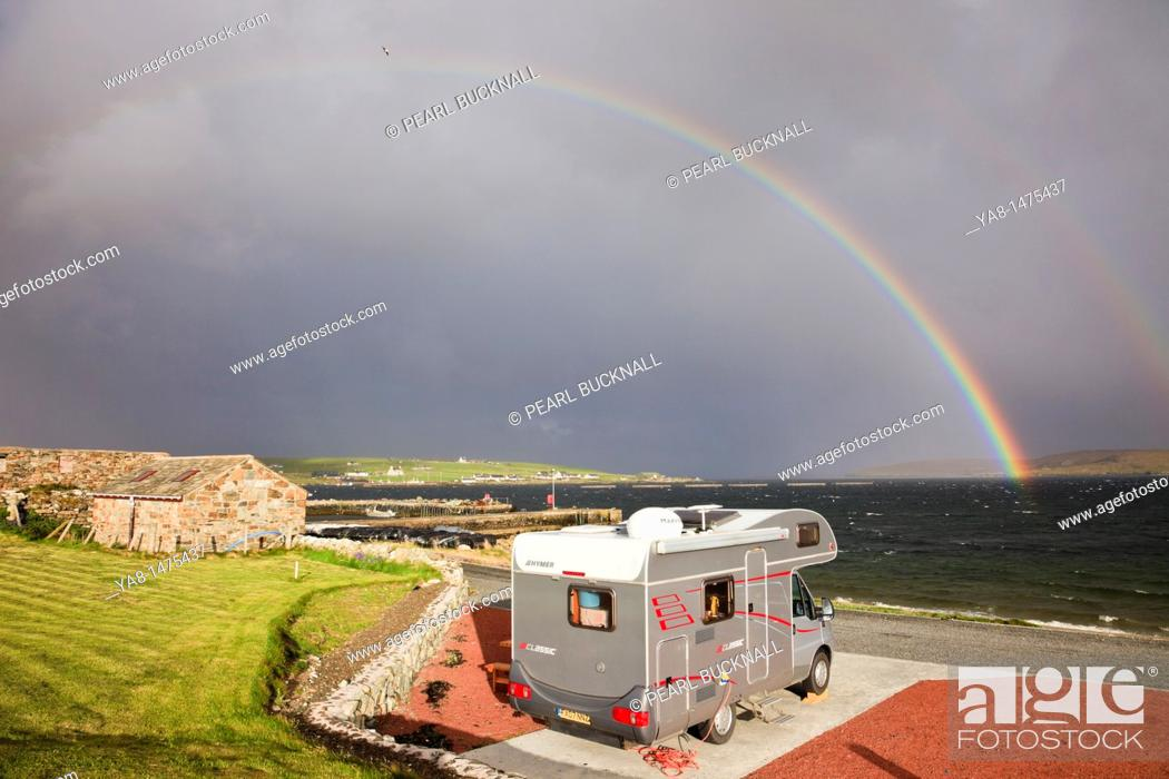 Stock Photo: Uyeasound, Unst, Shetland Islands, Scotland, UK, Europe  Motorhome in Gardiesfauld youth hostel campsite with rainbow and grey clouds over the sea  Most.
