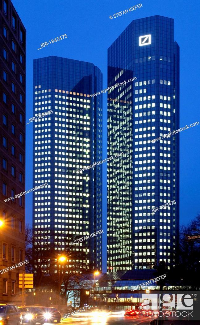 Stock Photo: Headquarters of Deutsche Bank AG by night, Frankfurt am Main, Hesse, Germany, Europe.