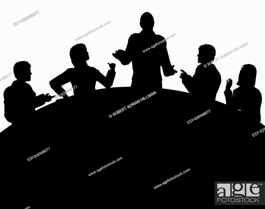 Stock Vector: Editable vector silhouette of a business meeting with each figure as a separate object.
