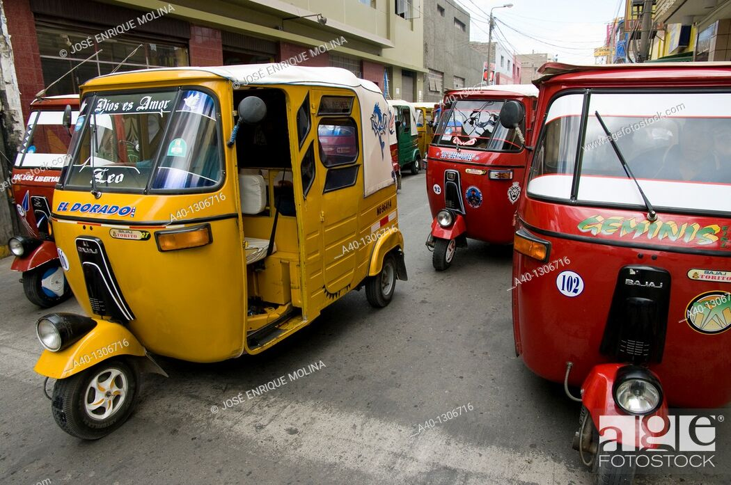 Stock Photo: Peru. Ica department. Ica city. Motorcycle Taxi. Cholo-Taxi.