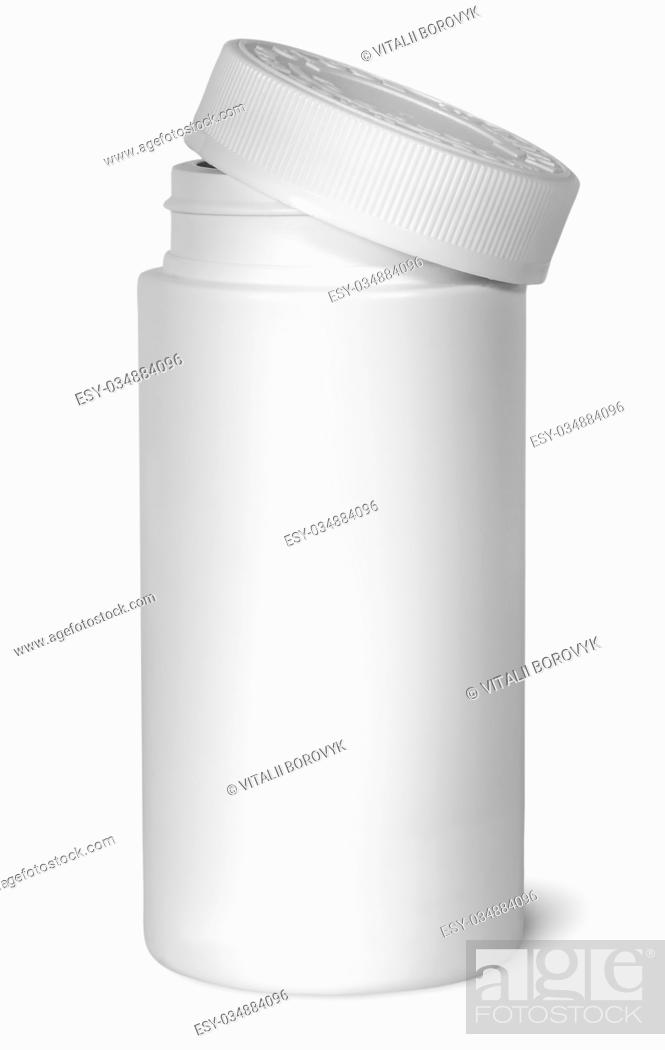 Stock Photo: White plastic bottle for vitamins with lid removed isolated on white background.
