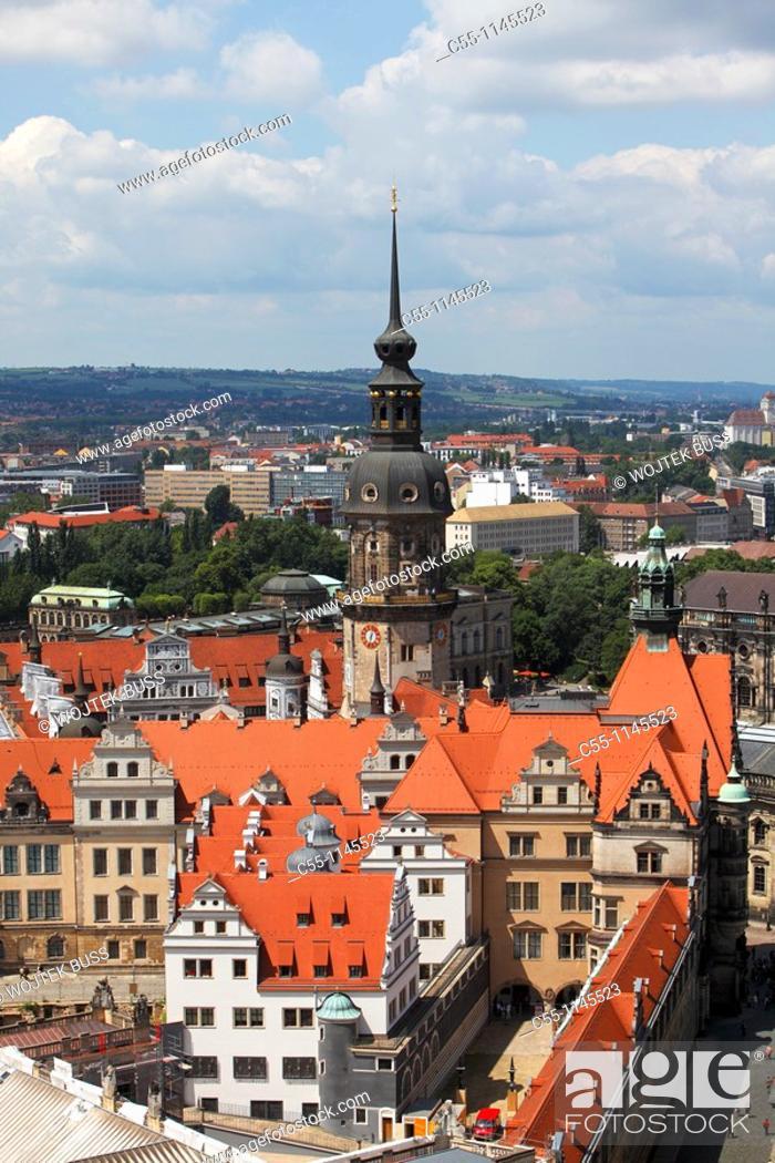 Stock Photo: Castle, Hausmannsturm, Dresden, Saxony, Germany.