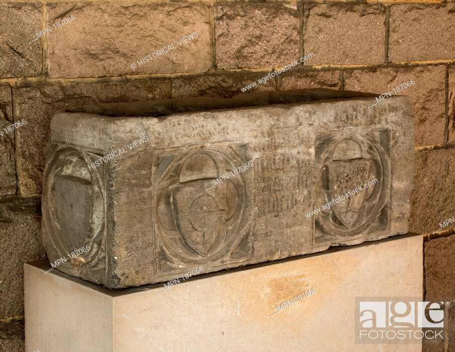Stock Photo: Sarcophagus. Date: 14th century; Geography: Made in Catalonia (?); Culture: Catalan or Italian; Medium: Limestone; Dimensions: Overall: 14 x 37 x 13 1/2 in.