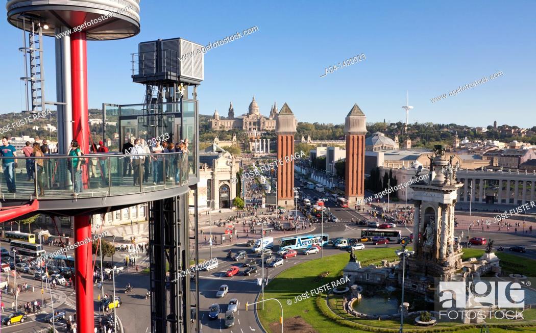 Stock Photo: Spain, Barcelona, Plaça d'Espanya, Montjuich National Palace, Old Arenas Bullring terrace.