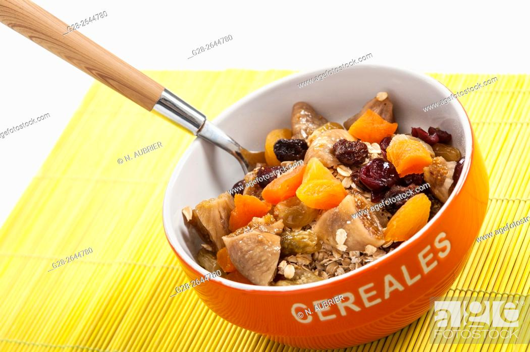 Stock Photo: Appetizing cereal morning bowl with muesli.
