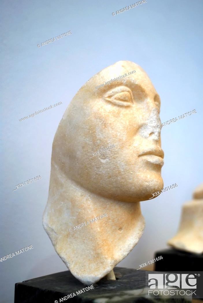 "Stock Photo: Female marble head portrait from the E Temple of Selinunte Regional Archaeological Museum ""Antonio Salinas"" Palermo Sicily Italy."