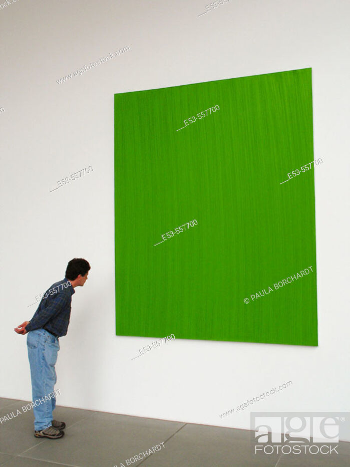 Stock Photo: Man, early 40s, looking at green painting, Neues Museum, Nürnberg, Germany.