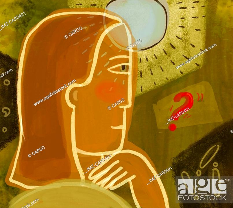 Stock Photo: A woman with a light coming from her forehead and a red question mark.