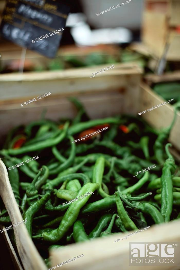 Stock Photo: Green chillies. Market in Bordeaux. Gironde. Aquitaine. France. Europe.