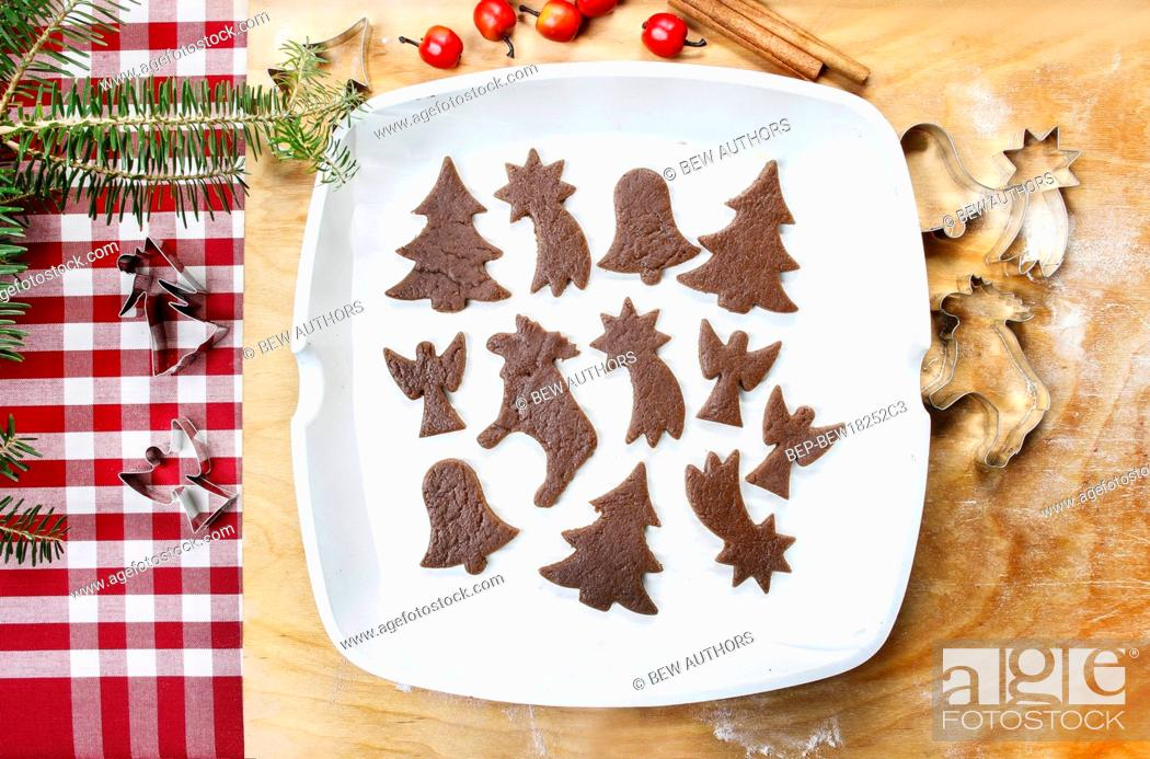 Stock Photo: Preparing gingerbread cookies for christmas. Steps of making biscuits.