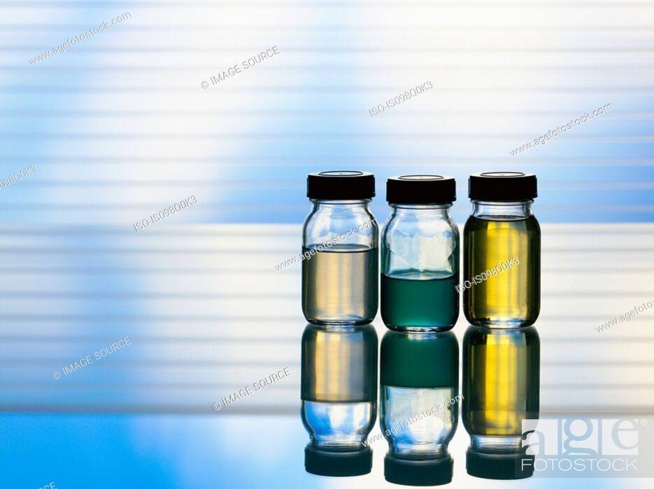 Stock Photo: Bottles of aromatherapy oil.