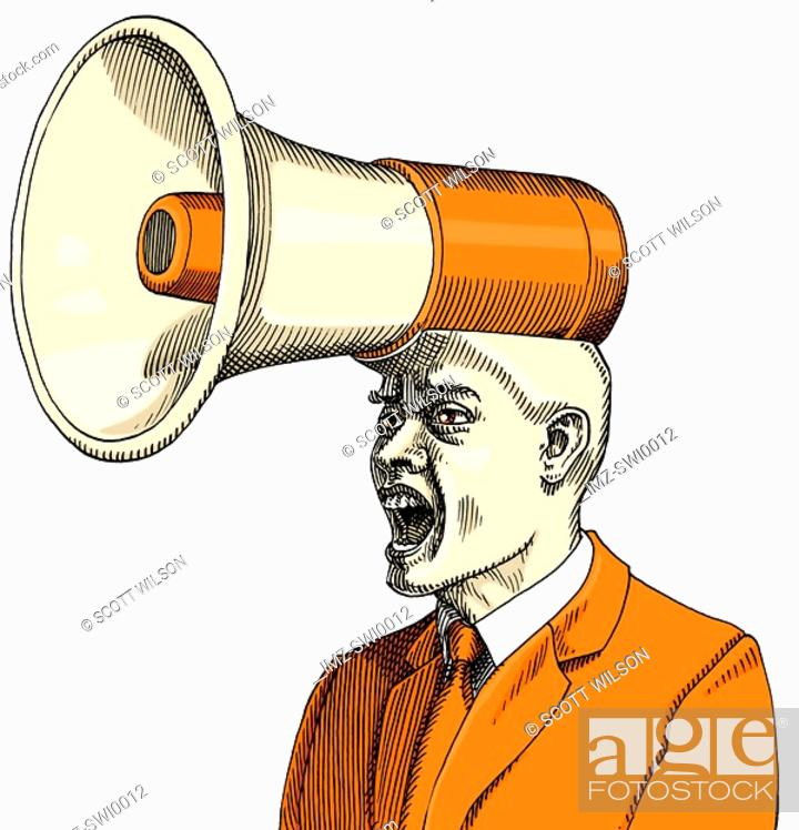 Stock Photo: An illustration of a man dressed in business attire and yelling with a megaphone growing from his head.