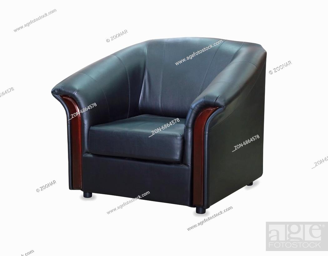 Stock Photo: modern black leather chair isolated on white background.