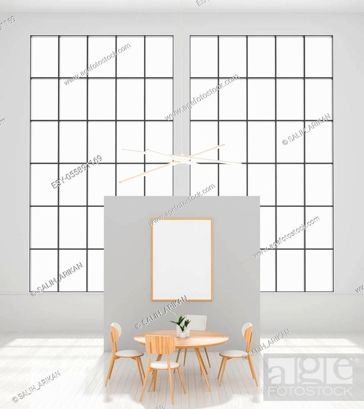 Stock Photo: Mock up poster frame in modern, spacious dining room. Minimalist dining room design. 3D illustration.