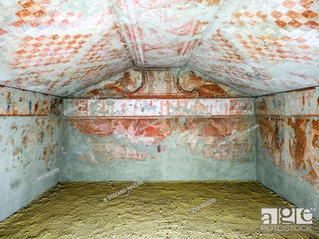 Stock Photo: Fresco painted walls in Tomba dele bighe (Tomb of the chariots) 5th century BC - Tarquinia National Archaeological Museum, Italy.