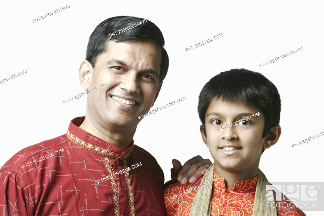 Stock Photo: Portrait of a mature man and his son smiling.