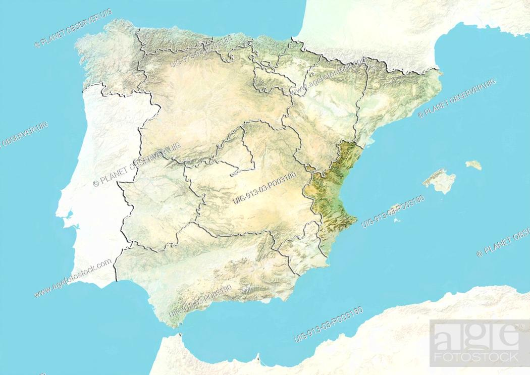 Map Of Spain Valencia Region.Relief Map Of Spain Showing The Region Of Valencia This Image Was