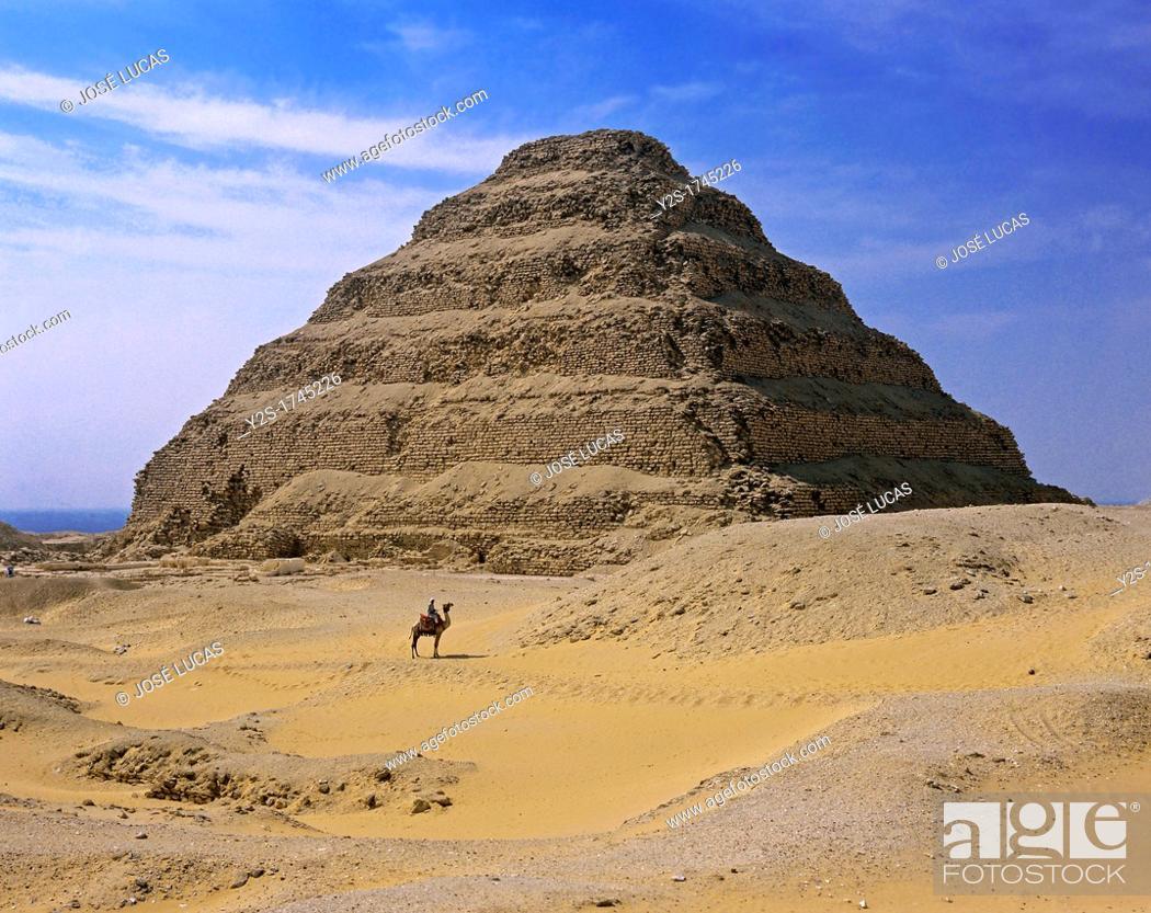 Stock Photo: The Step Pyramid of Djoser or Zoser, Saqqara, Egypt,.