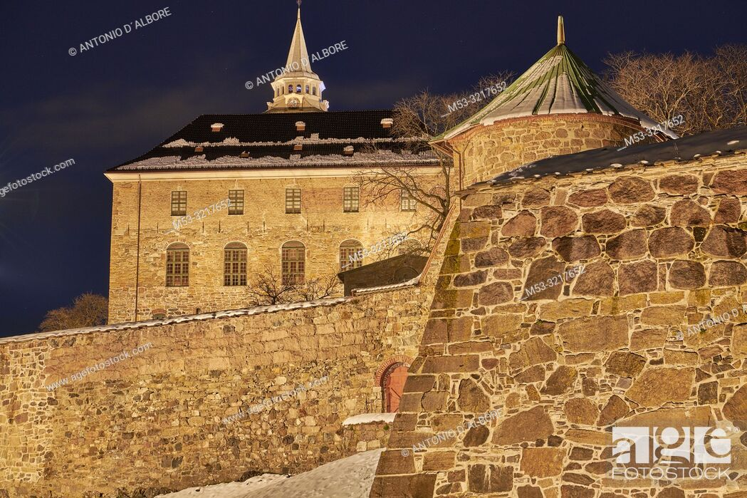 Stock Photo: The Akershus Fortress at the first light of dawn. Oslo. Norway.