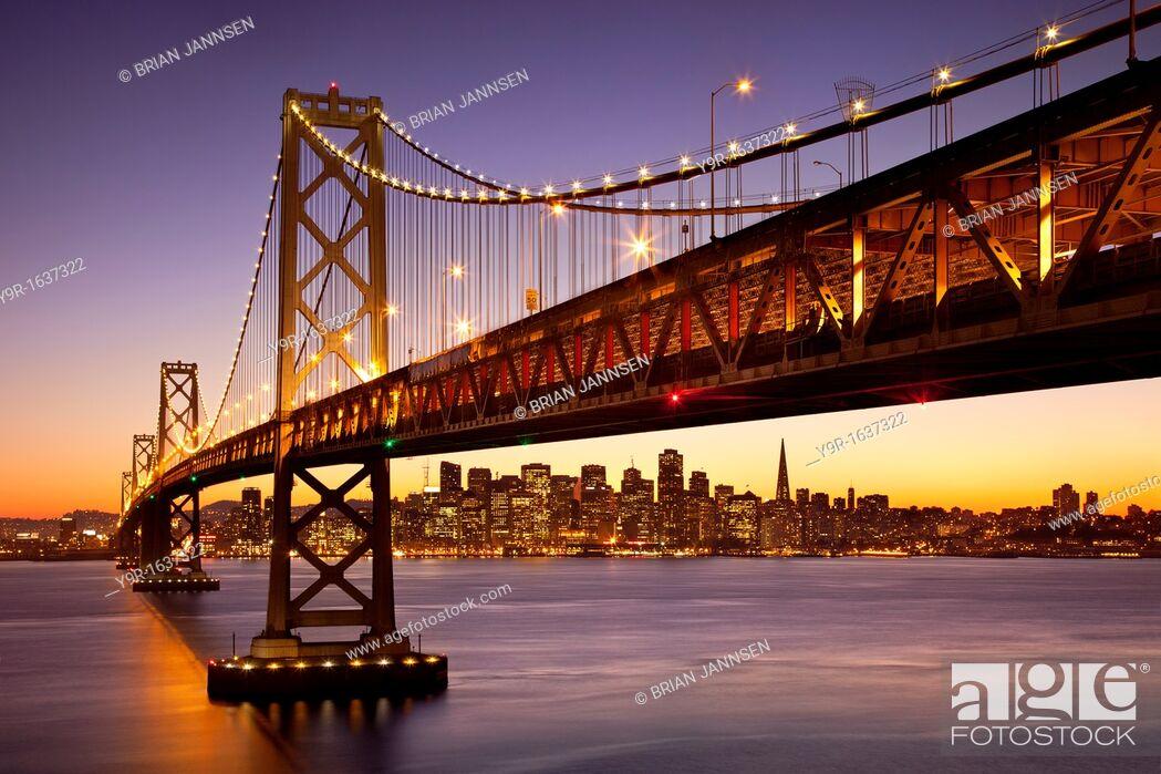 Stock Photo: Twilight at the Bay Bridge with San Francisco beyond, California, USA.