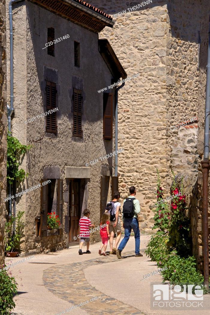 Stock Photo: Wine growers stone houses, Lavaudieu, medieval village, 43, Auvergne, Haute Loire, France.