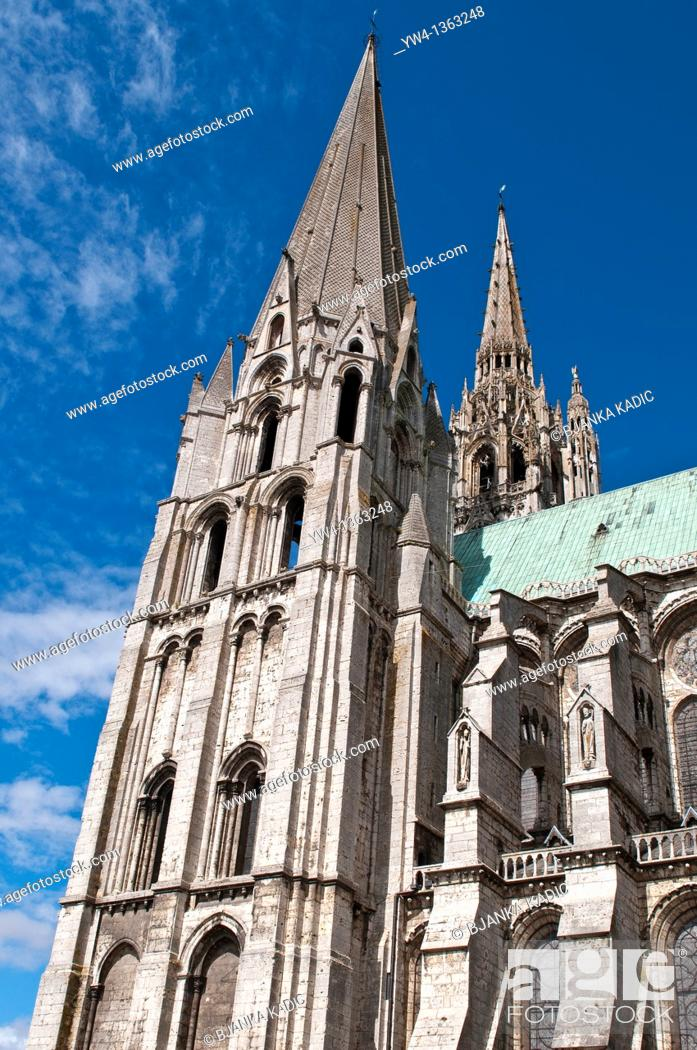 Stock Photo: Chartres Cathedral, Early Gothic tower, France.