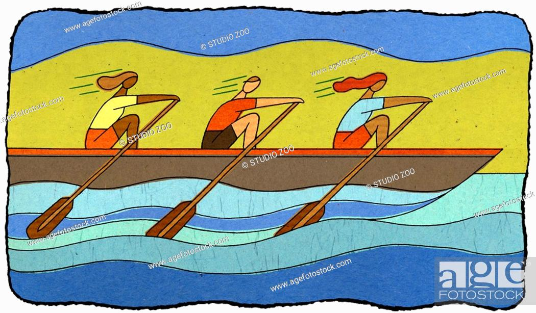 Stock Photo: three rowers.