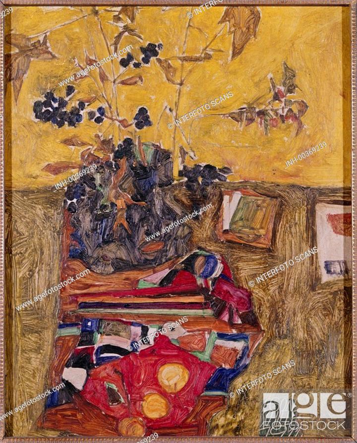 Ganz und zu Extrem Ü Kunst, Schiele, Egon 12 6 1890 - 31 10 1918, Gemälde Stilleben &ED_25